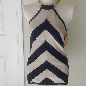 Adrienne Vittadini Tops - Adrienne Vittadini Blue & Cream Stripes Top Medium
